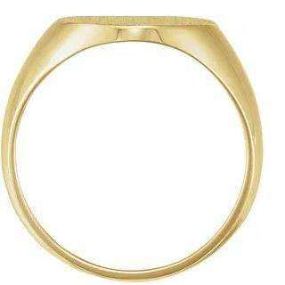 Brushed Yellow Gold Oval Signet Ring