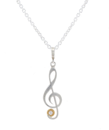 Lika Behar Sterling Silver & Gold Clef Pendant Necklace