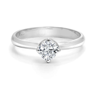 Forevermark Black Label Cushion Solitaire Diamond Engagement Ring white gold