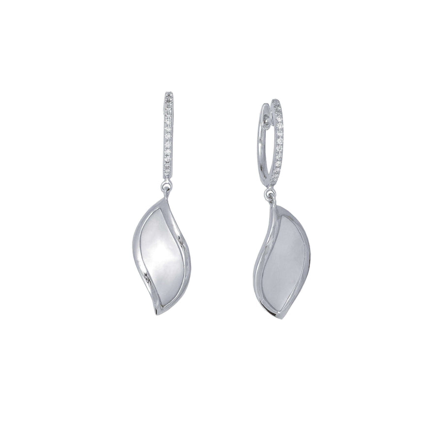 Frederic Sage Mother of Pearl Curved Leaf Earrings