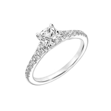 Frederick Goldman Cushion Cut Diamond Shoulder Engagement Ring