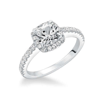 Frederick Goldman Cushion Cut Halo Diamond Engagement Ring
