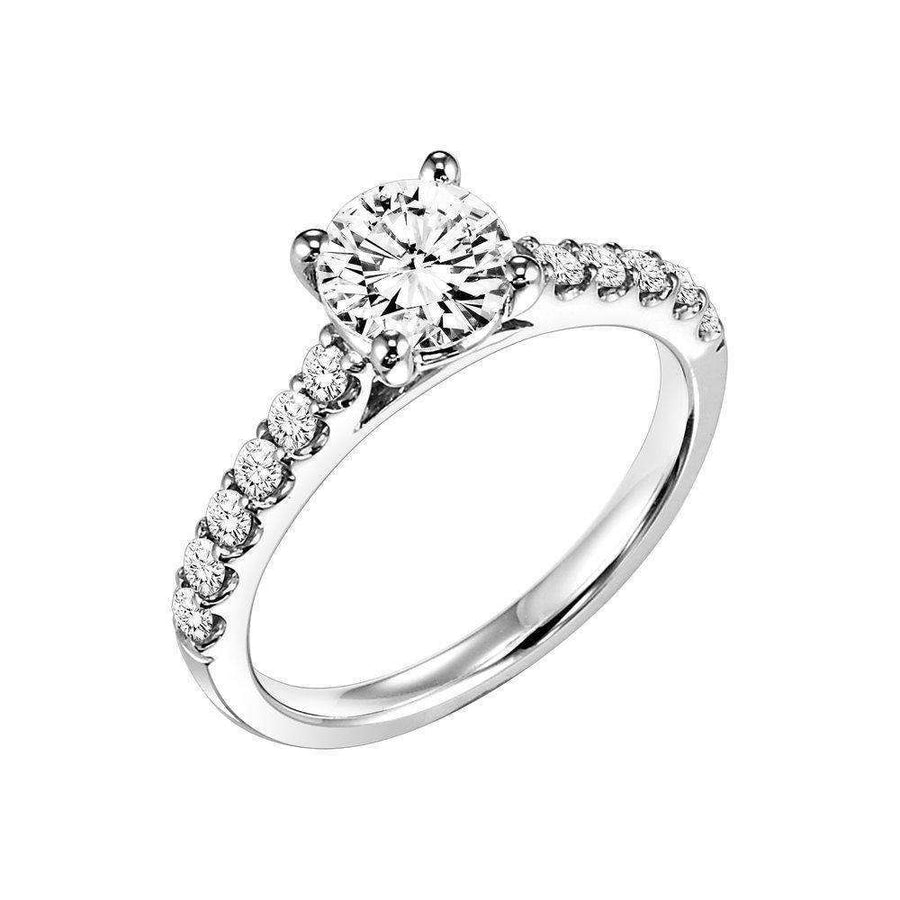 Frederick Goldman Diamond Shoulder Side Stone Engagement Ring