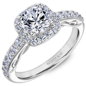 Frederick Goldman Diamond Shoulder Side Stone Halo Engagement Ring