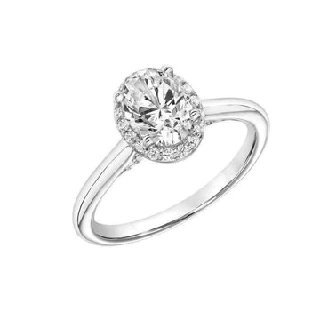 Frederick Goldman Oval Diamond Halo Engagement Ring