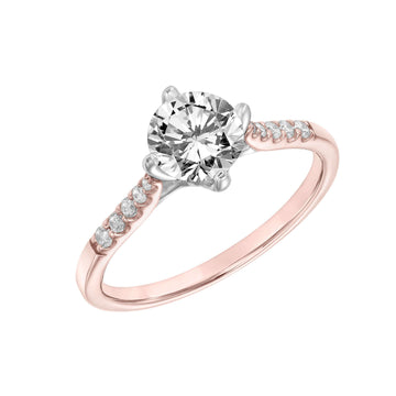 Frederick Goldman Petite Diamond Shoulder Engagement Ring rose gold