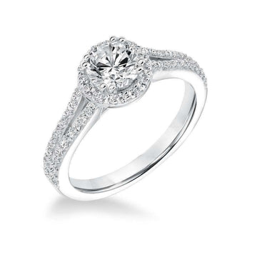 Goldman Diamond Halo Split Shoulder Engagement Ring