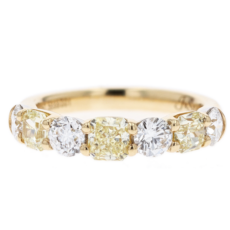 JB Star Fancy Yellow and White Diamond Band