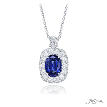 JB Starr Platinum Diamond and Sapphire Pendant Necklace