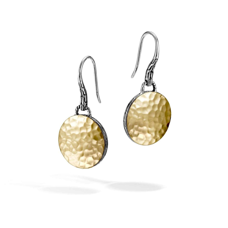 John Hardy 18k Gold and Sterling Silver Hammered Drop Earring