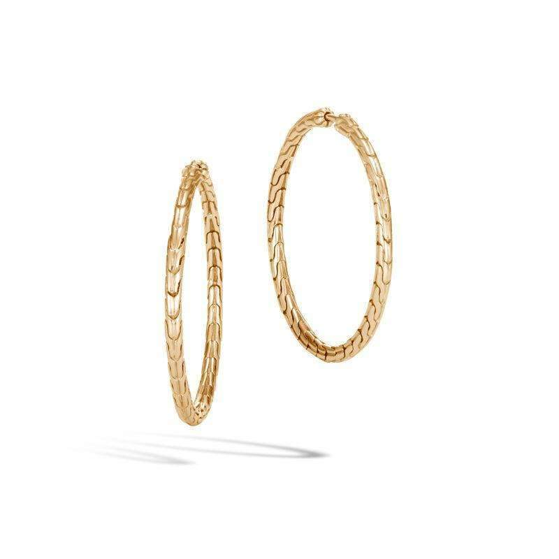John Hardy 18k Gold Classic Chain Medium Hoop Earrings