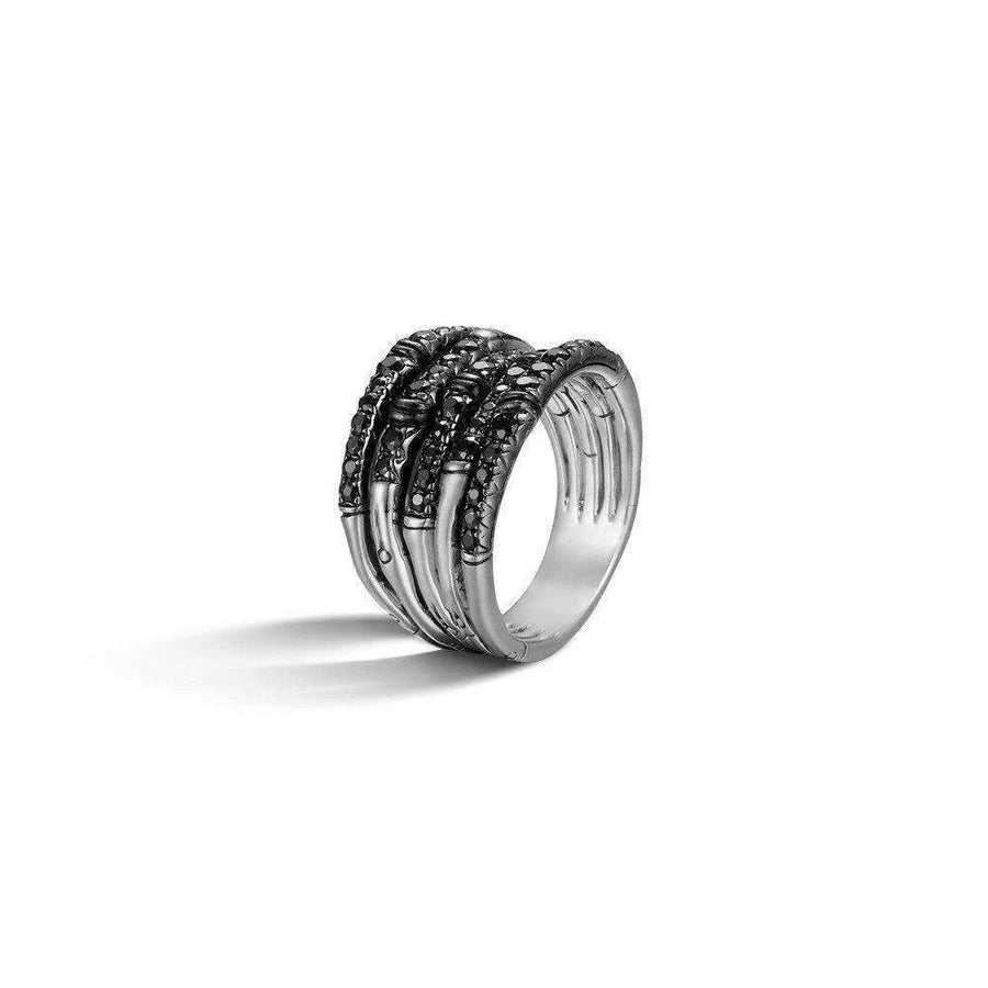 John Hardy Bamboo Ring with Black Sapphires