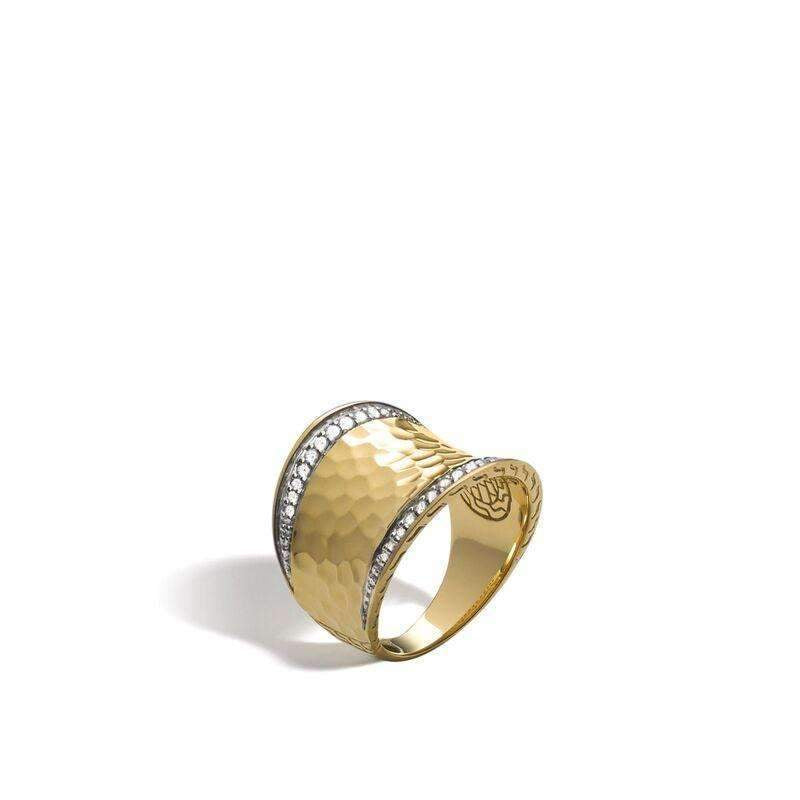John Hardy Classic Chain Hammered Saddle Ring with Diamonds