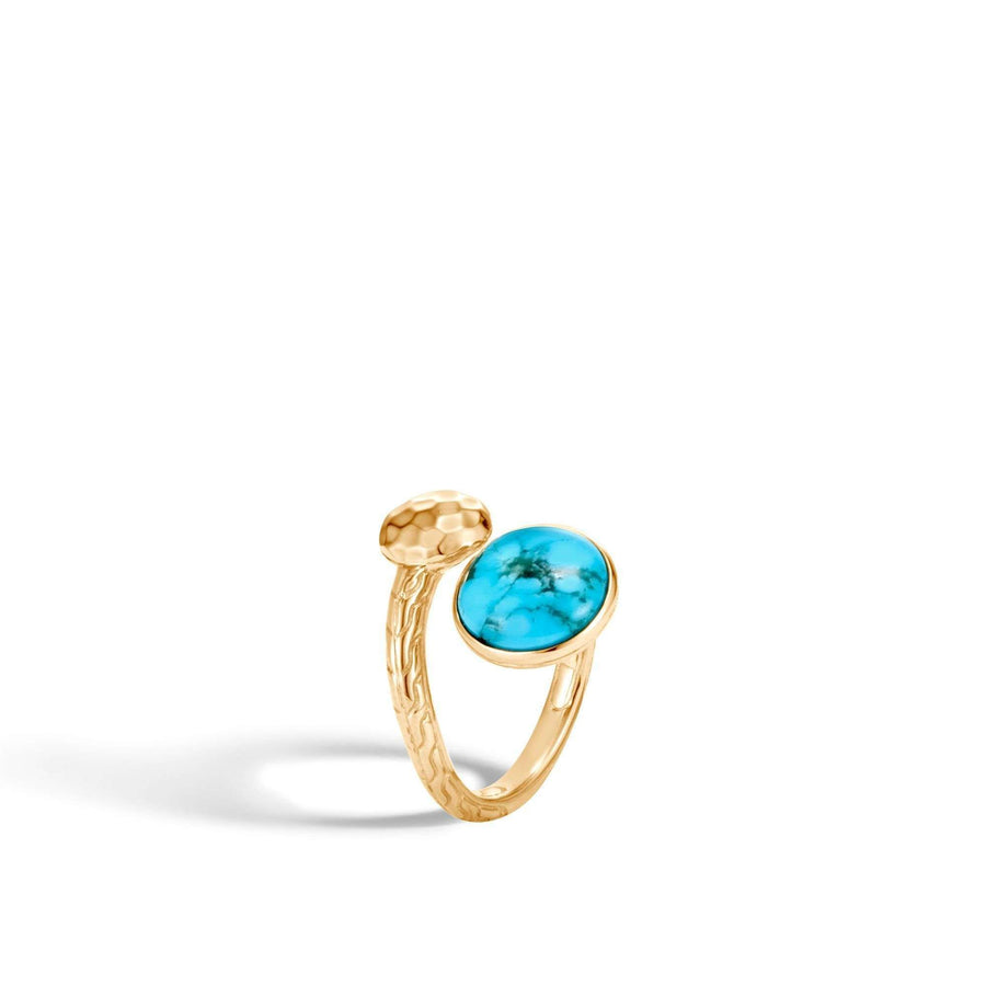 John Hardy Dot Hammered Bypass Ring with Turquoise