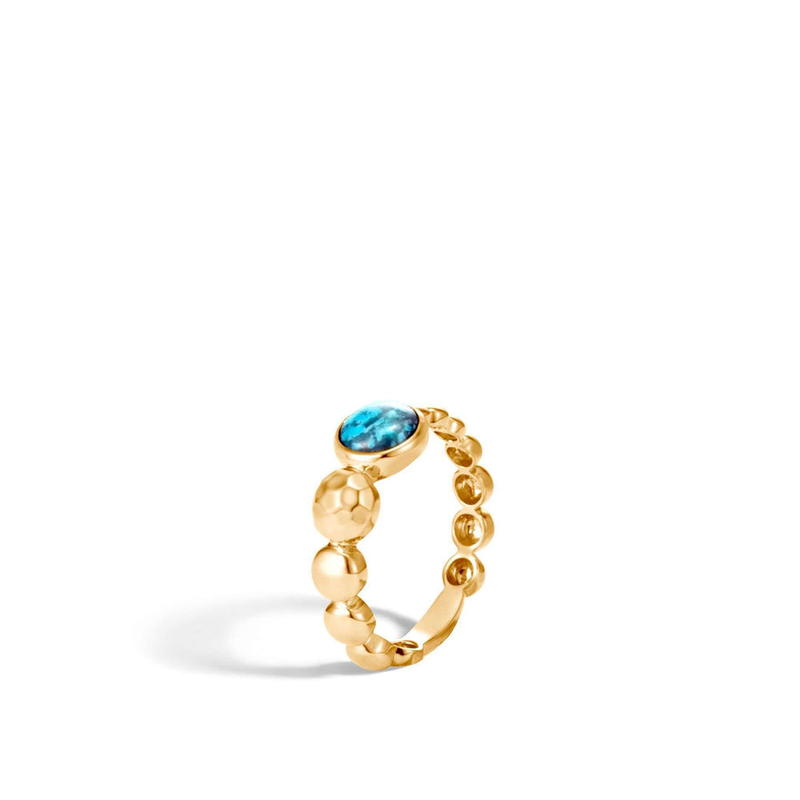John Hardy Dot Hammered Ring with Turquoise