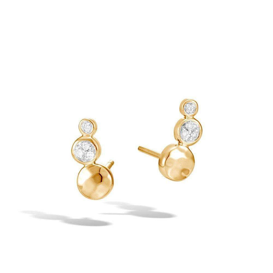 John Hardy Hammered Stud Earrings with Diamonds