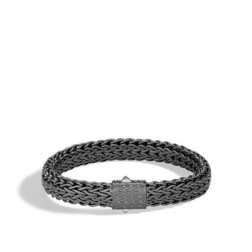 John Hardy Men's Black Rhodium Large Flat Classic Chain Bracelet