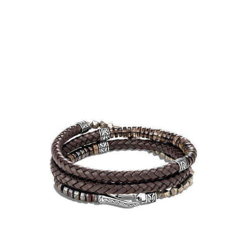 John Hardy Men's Leather Wrap Bracelet with Smoky Quartz, Tiger Iron, Pyrite