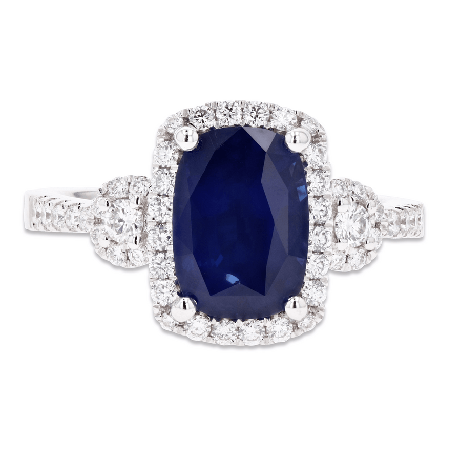 Jye's Cushion Sapphire and Diamond Ring