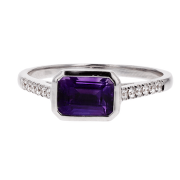 Kimberly Collins Amethyst and Diamond Shoulder Ring