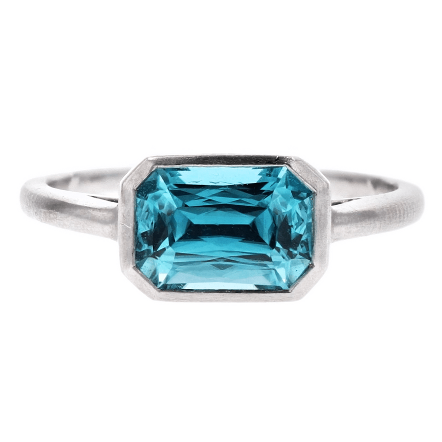 Kimberly Collins Emerald Cut Blue Zircon Ring