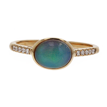 Kimberly Collins Oval Opal Diamond Shoulder Ring