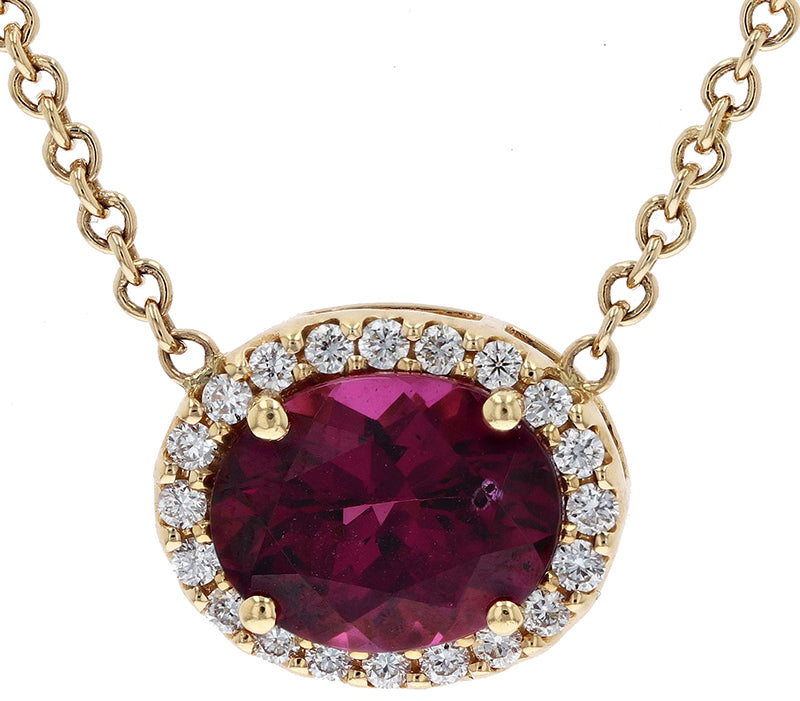 Kimberly Collins Oval Rhodolite Garnet Halo Pendant Necklace
