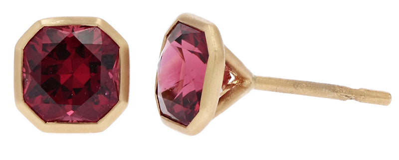 Kimberly Collins Square Faceted Rhodalite Garnet Studs