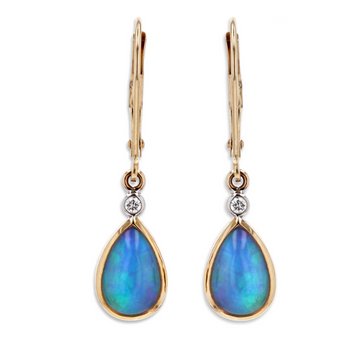 Kostbar Pear Shaped Opal Dangle Earrings