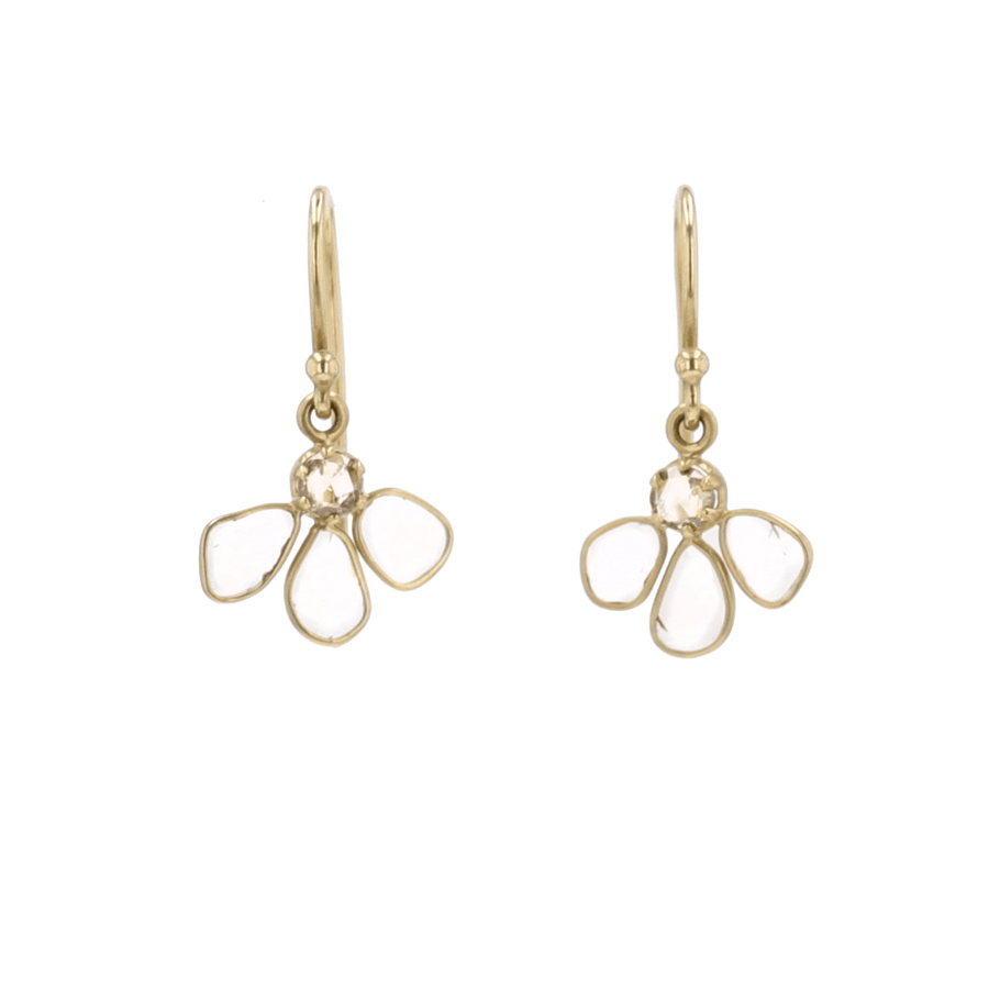Kothari Polki and Champagne Diamond Dangle Earrings