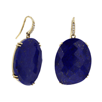 Lapis with Diamonds Dangle Earrings