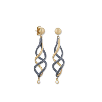 Lika Behar 22k Yellow Gold & Oxidized Sterling Silver Twirl Earrings