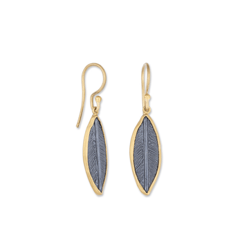 Lika Behar 24k Gold & Oxidized Sterling Silver Olive Leaf Dangles
