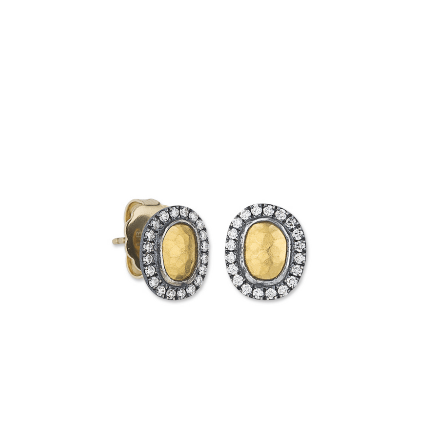 Lika Behar Oval Hammered Diamond Studs