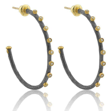 Lika Behar Oxidized Two-Tone Diamond Hoops