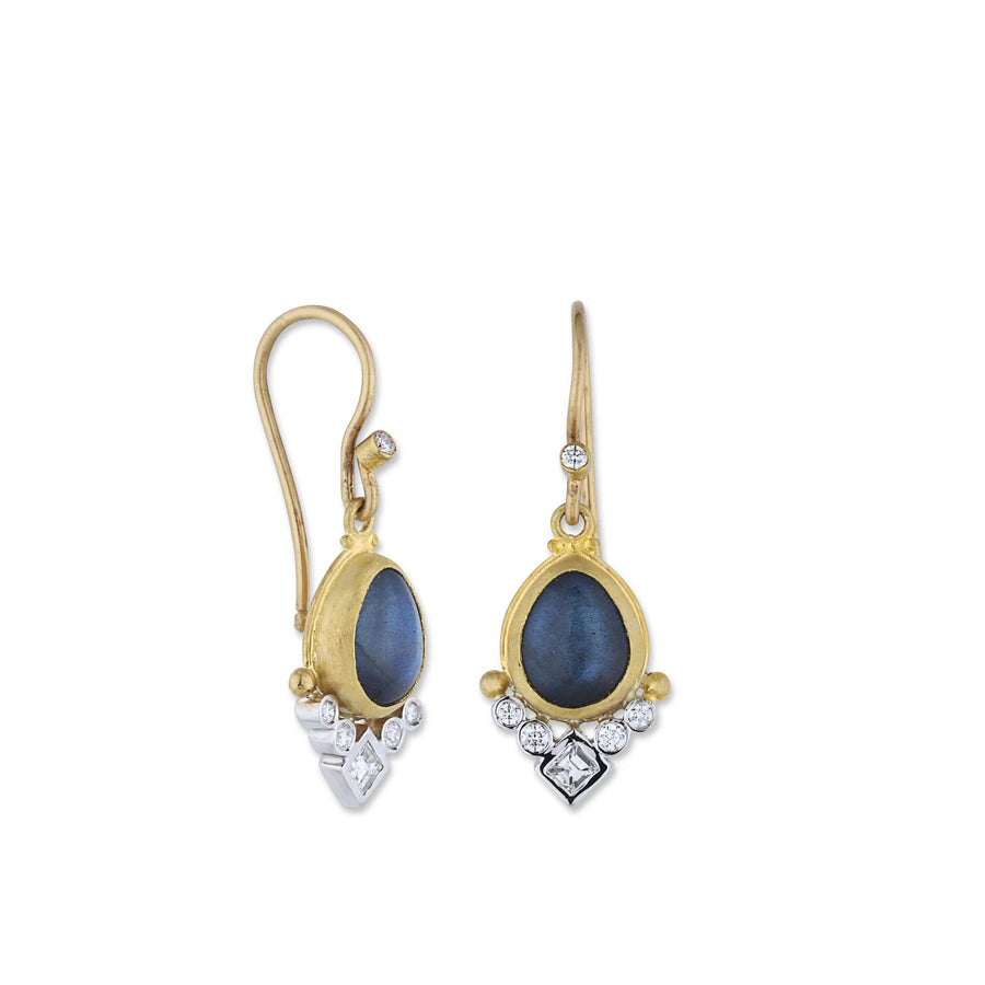 Lika Behar Pear Shape Labradorite & Diamond Dangles