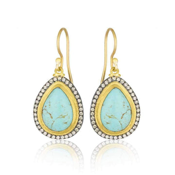 Lika Behar Pear Shaped Turquoise & Champagne Diamond Earrings