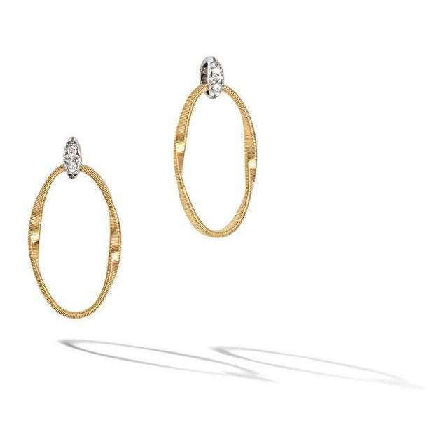Marco Bicego® Marrakech Onde Collection 18K Yellow Gold and Diamond Link Stud
