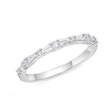 Memoire Baguette and Round Diamond Band
