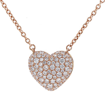 Memoire Pave Diamond Heart Pendant Necklace