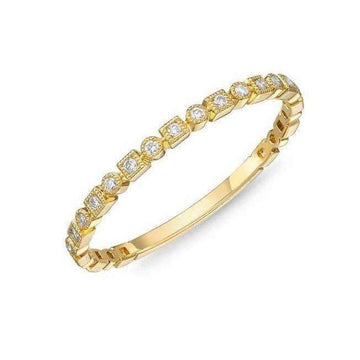 Memoire Geometric Milgrain Edge Diamond Band