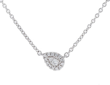 Memoire Pear Shaped Diamond Halo Pendant Necklace