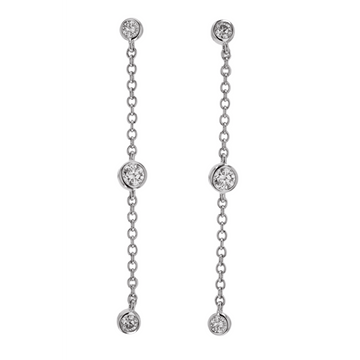 Memoire Three Diamond Chain Drop Earrings