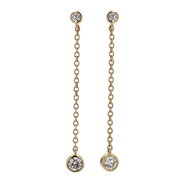Memoire Two Diamond Chain Drop Earrings