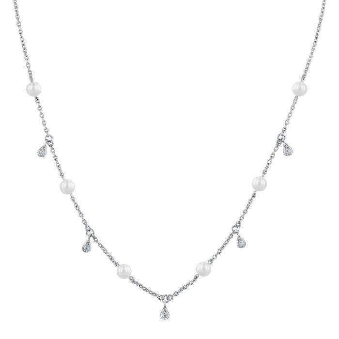 Mikimoto Akoya Cultured Pearl & Diamond Station Necklace