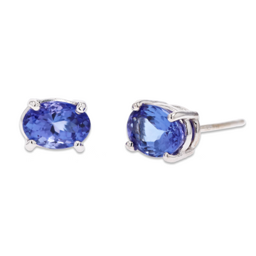 Oval Tanzanite Stud Earrings