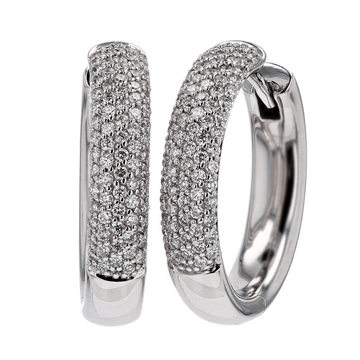 Pave Diamond White Gold Hoop Earrings