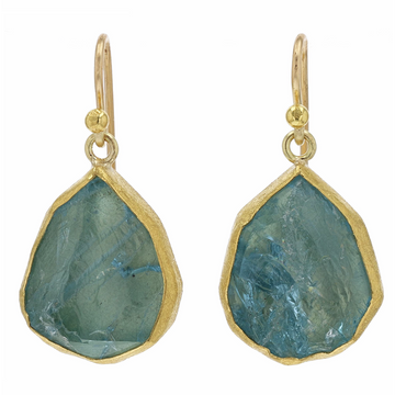 Petra Class Aquamarine and Yellow Gold Dangle Earrings