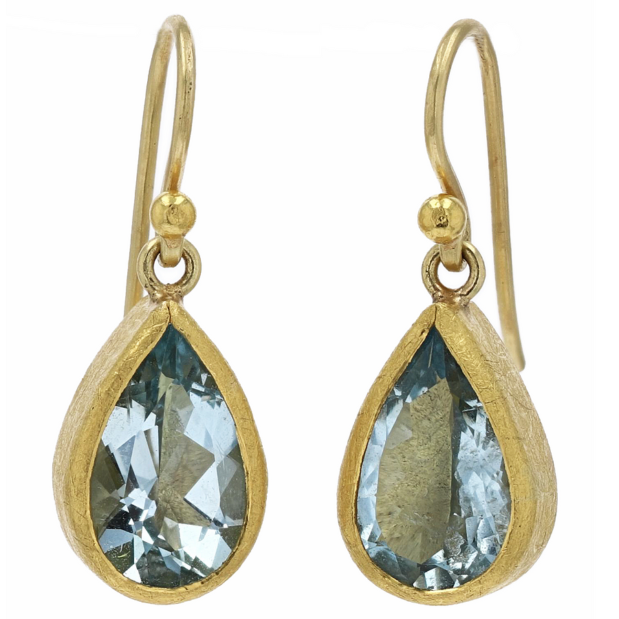 Petra Class Pear-Shaped Aquamarine Dangle Earrings