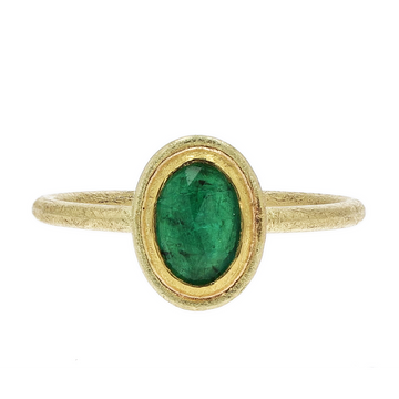 Petra Class Rose-Cut Emerald Gold Ring
